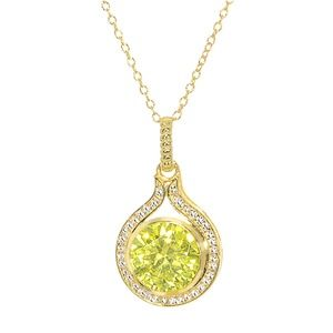 18k Gold over Silver Lemon & CZ Pendant with chain